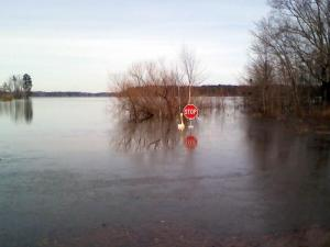 Heavy rains and melting snow left the Satterwhite Point boat ramp at Kerr Lake under water on Feb. 12, 2010.