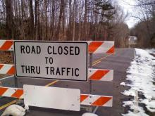 Part of Anderson Creek Road near Kerr Lake was under water on Feb. 12, 2010, prompting officials to close the road.