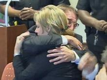 Gregory Taylor hugs Christine Mumma, executive director of the North Carolina Center on Actual Innocence, as Superior Court Judge Howard Manning orders him to be freed. Taylor spent nearly 17 years in prison for first-degree murder. A judicial panel on Feb. 17, 2010, unanimously decided he is innocent of the crime.