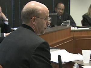 Duane Deaver testifies Feb. 12, 2010, in the innocence hearing of Gregory Taylor that he never reported a second test showing that evidence was negative for blood, because it wasn't part of the State Bureau of Investigation's policy at the time.