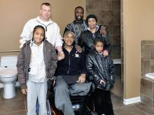 Army Staff Sgt. Maurice Craft, who lost his leg in Iraq, moved into a new Fayetteville home Saturday, Feb. 27, 2010. The house was built by members of Homes for Our Troops. (Photo courtesy of George Joell 3 Photography)