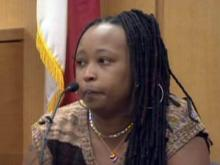 Talethia Shareef testifies on March 3, 2010, for her husband, Abdullah Shareef, who is charged with killing a man and injuring several people during a 2004 driving rampage in stolen vehicles.