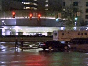 A man died after a shooting involving two Duke University police officers outside the front entrance of Duke Hospital at Erwin Road and Fulton Street around 1 a.m. Saturday, March 13, 2010.