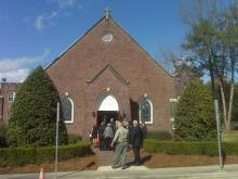 Mourners enter St. Paul's Episcopal Church in Greenville on Saturday, March 13, 2010, for the funeral of state Board of Education member Kathy Taft, who died March 9, 2010, from injuries she suffered in an attack three days earlier.