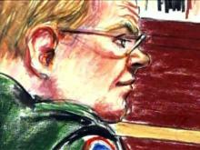 A courtroom artist's sketch shows Master Sgt. Timothy Hennis listening to testimony during his court-martial on March 17, 2010. Hennis is accused of killing a Fayetteville woman and two of her daughters in May 1985.