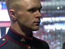 Canes defenseman meets with Camp Lejeune Marines