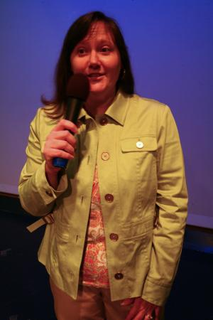 WRAL's Smart Shopper Faye Prosser talks at a workshop on how to cut your grocery bill in half at the WRAL Studios on Saturday, April 10, 2010.