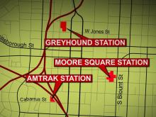 Amtrak, Greyhound and Capital Area Transit currently operate out of separate terminals spread across downtown Raleigh.