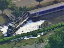 Raw: Sky 5 flies over train derailment