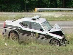 A Highway Patrol trooper collided with another car in Guilford County during a May 23, 2010, chase, killing two people.