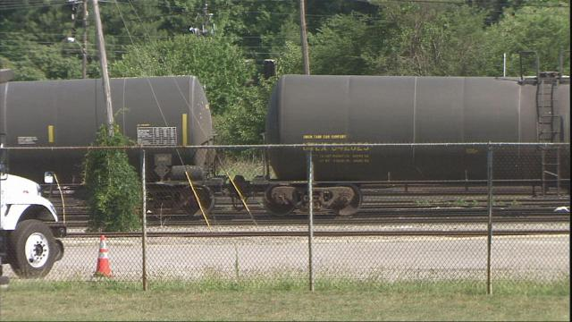 A freight train derailed in Raleigh Sunday, July 4, 2010, but none of the ethanol in the cars leaked.