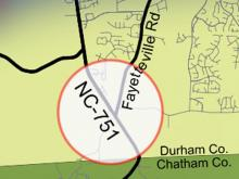 Locator map for 751 South project in Durham County