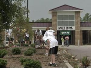 Nearly 200 volunteers came together Saturday, Aug. 7, 2010, to make improvements at Lowe's Grove Middle School in Durham.