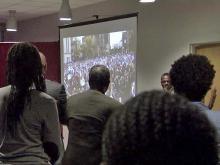 Students watch Obama speech via satellite