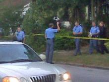 Raleigh police investigate a triple shooting that happened early Monday, Oct. 18, 2010, on Willow Street.