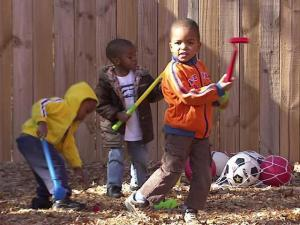 Children play at Wanda's Little Hands on Poole Road in Raleigh. The child care center participated in a program to fight obesity by teaching children how to be more physcially active and eat healthy.