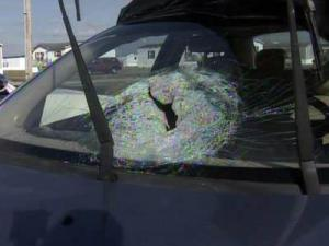 A brick was thrown through the windshield of a Chevy Aveo on U.S. 74 in Robeson County on Nov. 26, 2010, injuring Dominique Childs, who was in the front passenger seat.