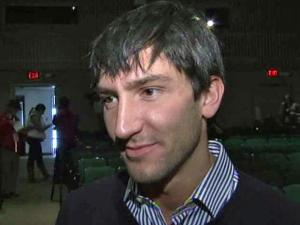 """Since winning the gold medal at the 2010 Winter Olympics in Vancouver, figure skater Evan Lysacek's career took some unexpected turns. He was everywhere from """"Dancing with the Stars"""" to the Academy Awards, but on Saturday, he was back at a familiar place - the U.S. Figure Skating Championships in Greensboro."""