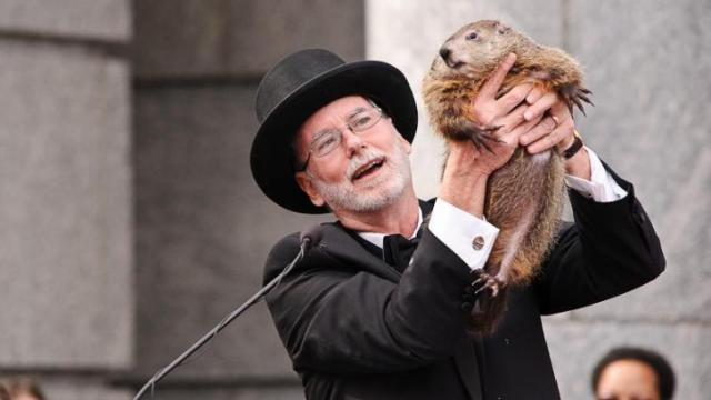 Dee Freeman announces to the crowd that Sir Walter Wally did see his shadow and to expect six more weeks of winter during the Groundhog Day event at the North Carolina Museum of Natural Sciences in downtown Raleigh.