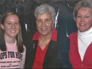 Athens Drive High School's Hoops for Hope organizer Blair Williams with Kay Yow and Blair's mother, Susan Williams.