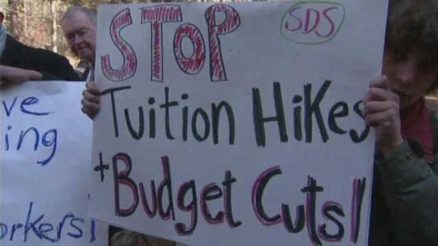 UNC students protested planned tuition hikes across the state university system.