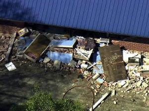 A meth lab explosion blew out part of the front of the Old Goldwater Motel in Dudley on March 11, 2011.