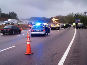 Interstate 540 West closed between Glenwood Avenue and Leesville Road due to a multi-vehicle crash involving injuries on Tuesday, April 5, 2011.