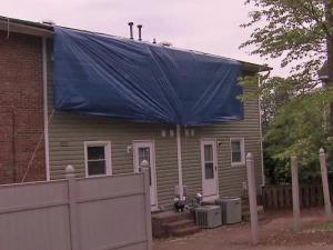 Sonja Orr's townhouse in Raleigh's Stony Brook Apartments was damaged in storms on April 16, 2011.