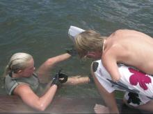 Logan Aldridge, right, and Bethany Hamilton became friends after separate 2004 accidents left each with one arm. (Photo courtesy of Logan Aldridge)