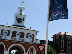 A Dogwood Festival flag is seen near the Market House in Fayetteville, NC on April 30, 2011. (Photo by Lance King)