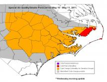 The state Division of Air Quality issued advisories for May 10-11 for parts of eastern North Carolina because of smoke from a wildfire in Dare and Hyde counties.