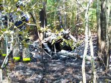 A small plane crashed into some woods off a private airstrip near Linden on June 14, 2011. (Photo courtesy of Tim Mitchell, deputy director of Cumberland County Emergency Services)