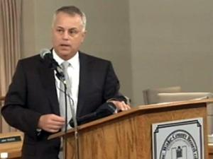 Wake County Public School System Superintendent Tony Tata talks  with reporters during a weekly briefing on July 22.