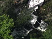 Sky 5 aerial view of plane found down near Graham