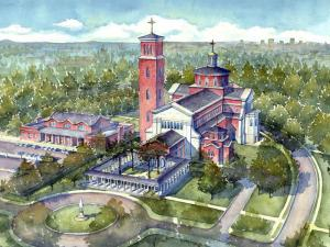 The planned Holy Name of Jesus Cathedral in Raleigh is depicted in an architectural rendering.
