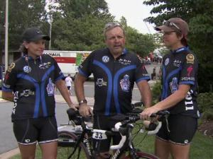 Three bicyclists from Raleigh joined hundreds of other riders who arrived at the Pentagon in Arlington, Va., Sunday after a four-day trek from ground zero in Manhattan to commemorate the Sept. 11, 2001, attacks.