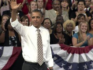 President Barack Obama promotes his proposed jobs legislation during a Sept. 14, 2011, speech at N.C. State University.
