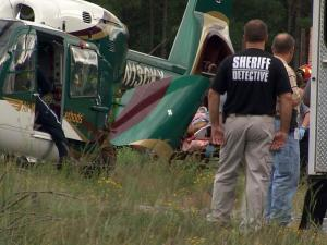 A man was burned badly in a plane crash near the Raleigh Executive Jetport, formerly called the Sanford-Lee County Regional Airport, early Sunday afternoon, Sanford police said.