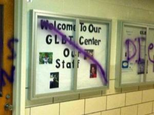 "Justine Hollingshead, director of the N.C. State GLBT Center, saidTuesday that someone spray-painted a homophobic slur and the words ""burn"" and ""die"" on the outside of the center's door and display case on the evening of Oct. 17, 2011."