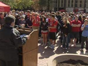 Hundreds of students, staff and faculty gathered in N.C. State's Brickyard Oct. 20, 2011, to rally against homophobic vandalism toward the campus' GLBT Center.