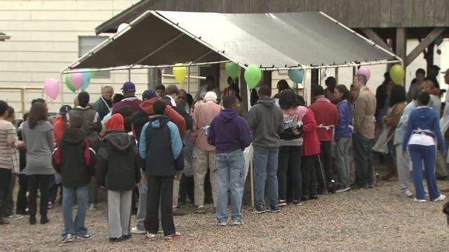 Thousands line up every year for Thanksgiving dinner at the Durham Rescue Mission.