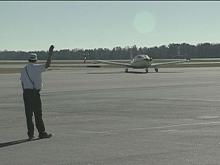 Plane pulls in at RDU airport