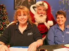 WRAL stars, Wool E. Bull and Santa Claus urged people to donate to the Salvation Army's Coats for the Children campaign during a telethon on Friday, Dec. 9, 2011.