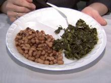 Traditional New Year's meal of black-eyed peas and collard greens