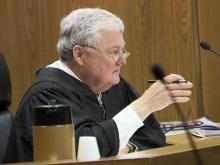 Superior Court Judge Robert Hobgood listens to arguments on Feb. 29, 2012, during an inquiry into whether Durham County District Attorney Tracey Cline should be removed from office.