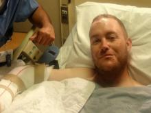 Senior Officer Chad Penland in the hospital