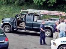 The pickup truck Sunny Lee Howard was driving when he was arrested in Galax, Va. Investigators said his wife's body was found inside. Photo credit: The Galax Gazette