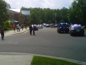 Chapel Hill police respond to a reported shooting at Mary Scroggs Elementary School on May 25, 2012. (Photo by Renee Chou)
