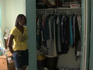 A Rocky Mount teenager hid in a closet Wednesday morning while four men broke into her home and stole jewelry and electronics. Michaela Brown, 14, said she was fearing for her life as she spoke with a 911 dispatcher from inside the closet.