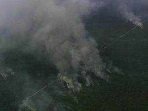 U.S. Forest Service officials said the fire in the center of Croatan National Forest grew from 2,800 acres Sunday afternoon to 10,800 acres by Monday night.